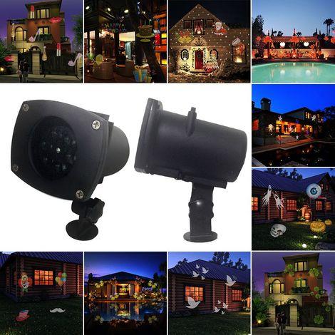 Projecteur Laser Extérieur/Intérieur 12 Dessins Interchangeables LED IP65 Lampe de Décoration pour Noël