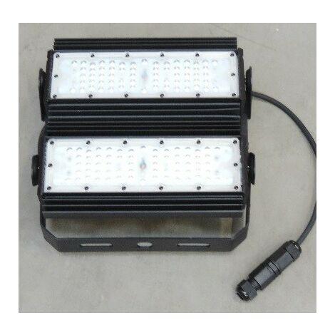 Projecteur LED 100W 2 corps orientables 4000K 14240lm pose mur/sol/plafond/suspendu 275x258mm 70° IK10 IP66 AIRIS FLV100NS03