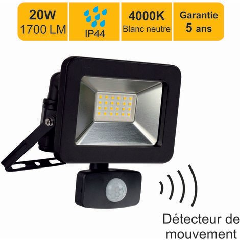 """main image of """"Projecteur LED 20W 1300 LM 4000K IP44 avec détecteur - garantie 5 ans"""""""
