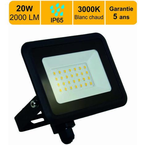 Projecteur LED 20W 1600 LM Blanc chaud (3000K) IP65- garantie 5 ans - Connexion en direct