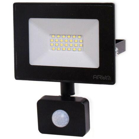 Projecteur LED 20W Noir détecteur de mouvement IP44   Température de Couleur: Blanc froid 6000K
