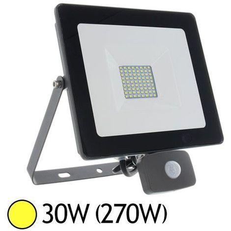 Projecteur LED 30W (270W) IP65 Plat Blanc chaud 3000°K avec détecteur
