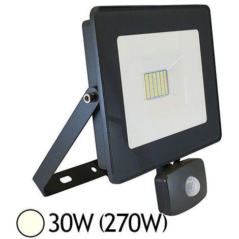Projecteur LED 30W (270W) IP65 Plat Blanc jour 4000°K avec détecteur