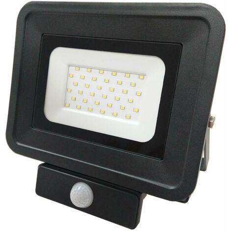 Projecteur LED 30W à Détecteur Fin Équivalent 200W Noir - Blanc Chaud 3000K