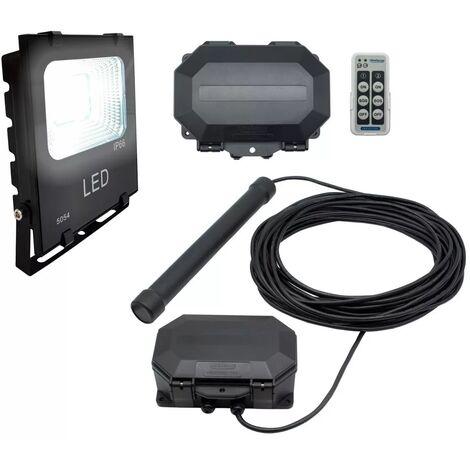 Projecteur LED détection passage véhicule 100% extérieure sans fil 800m - Sonde + récepteur IP56 + spot (PROTECT 800)