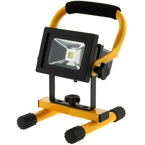 Projecteur LED noir chantier rechargeable IP65 - Puissance: 10W ou 20W