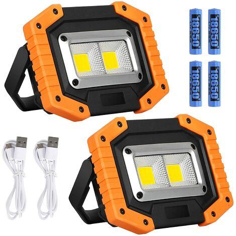 Projecteur LED Rechargeable 20W Lampe de Sécurité 3 Modes de Camping COB Lumière de Travail étanche de Batterie Floodlight de Camping pour la Pêche, Randonnée,1pcs