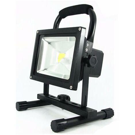 Projecteur LED Rechargeable 20W Portable IP65 NOIR - Blanc Froid 6000K - 8000K - SILAMP