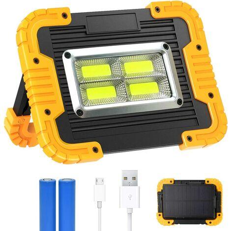 Projecteur LED Rechargeable, 30W Projecteurs LED avec Panneau Solaire, Lampe de Travail Portable, Lumières de Sécurité d'urgence, Projecteur étanche pour la Réparation de Voiture, Pêche, Camping