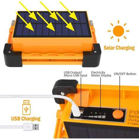 Projecteur LED, rechargeable avec panneau solaire, lampe de travail T-SUN 80W, projecteur portable étanche et sûr, batterie 11000mAh, utilisé pour le camping, l'entretien de la voiture