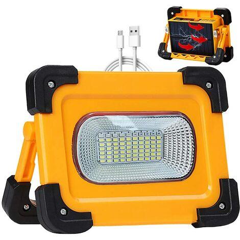 Projecteur LED Rechargeable Lampe Chantier Solaire 50W, 4 modes Portable LED Lampe de Travail Étanche USB Banque d'alimentation avec Aimant pour Réparation de Voiture, Randonnée, Camping, Urgence