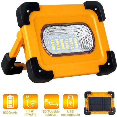 Projecteur LED Rechargeable, T-SUN 60W Lumière de Travail avec Pannea Solaire, Sécurité Imperméable lumières d'inondation portables, Batterie 9000mAh, Pour Le Camping, La Réparation De Voitures.