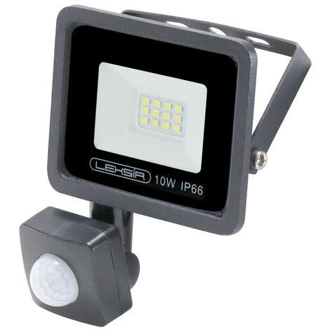 Projecteur LED SMD Lexsir 10W Dimmable avec Détecteur de Mouvement PIR IP66 Blanc Froid 6000K   IluminaShop