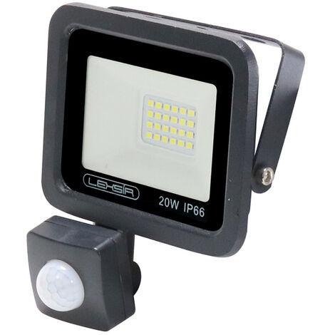 Projecteur LED SMD Lexsir 20W Dimmable avec Détecteur de Mouvement PIR IP66 Blanc Froid 6000K   IluminaShop