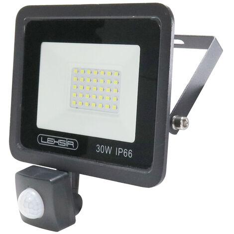 Projecteur LED SMD Lexsir 30W Dimmable avec Détecteur de Mouvement PIR IP66 Blanc Froid 6000K   IluminaShop