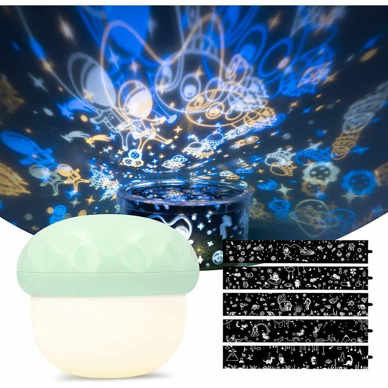 Projecteur LED veilleuse pour bébé rechargeable avec 5 fois la conception de projection et 6 fois le mode d'éclairage-champignon vert veilleuse