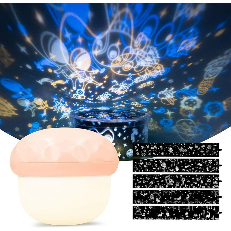 Projecteur LED Veilleuse pour bébé rechargeable avec 5 fois la conception de projection et 6 fois le mode d'éclairage - Champignon Night Light - Rose