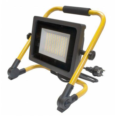Projecteur LED WAVE de chantier avec 2 mètres de câble - 50W - IP65 - Blanc Pur - Ecolife Lighting