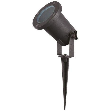 Projecteur Piquet Slim IP65 Alu Noir avec Douille GU10 et câble 1 m (3x 1 mm2)