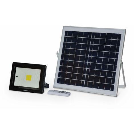 Projecteur solaire à détecteur de mouvement LED 20W avec panneau solaire télécommandé blanc froid