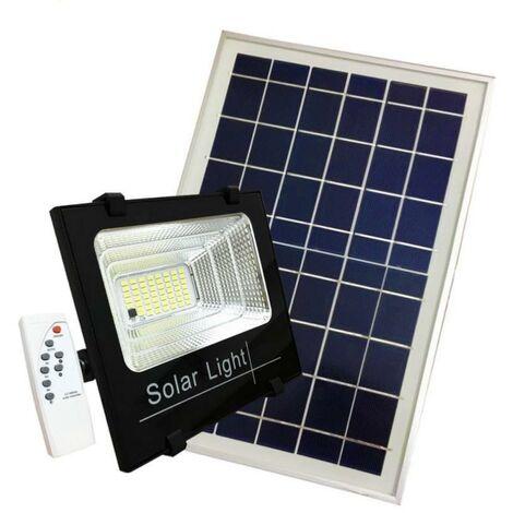 Projecteur Solaire LED 100W Dimmable avec Détecteur (Panneau Solaire + Télécommande Inclus) - Blanc Froid 6000K - 8000K