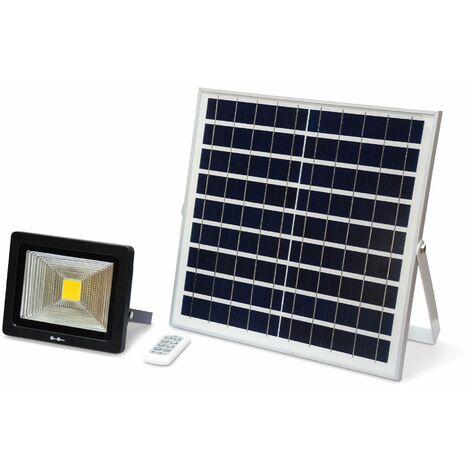 Projecteur solaire LED 20W avec panneau solaire télécommandé blanc chaud, lampe résistante à la pluie et autonome