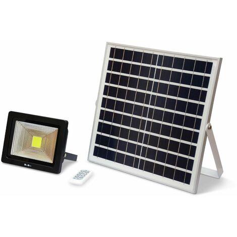 Projecteur solaire LED 20W avec panneau solaire télécommandé blanc froid, lampe résistante à la pluie et autonome