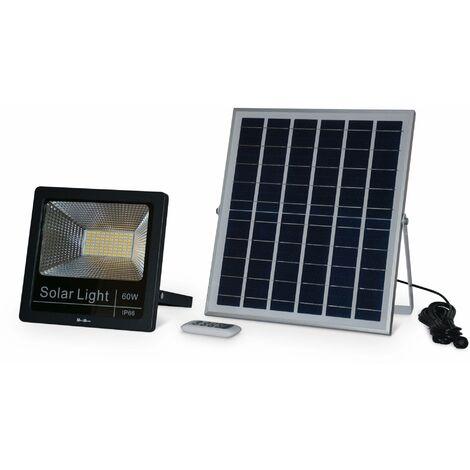 Projecteur solaire LED 40W avec panneau solaire télécommandé blanc froid, lampe résistante à la pluie et autonome