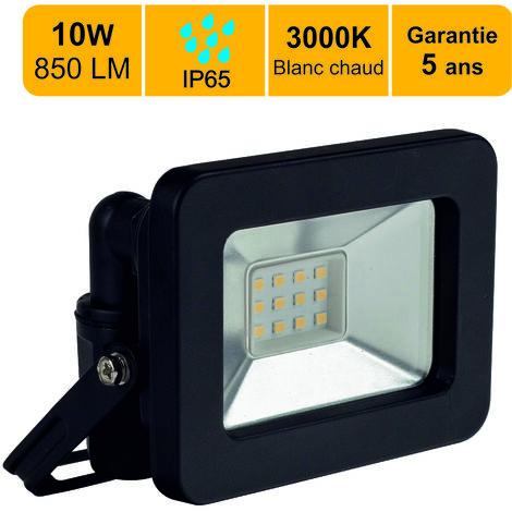 Projecteurs LED 10W 850 LM Blanc chaud (3000K) IP65- garantie 5 ans - Connexion en direct