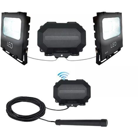 Projecteurs LED détection passage véhicule kit 100% extérieur sans fil 800m - Sonde + récepteur + 2 spots (PROTECT 800)
