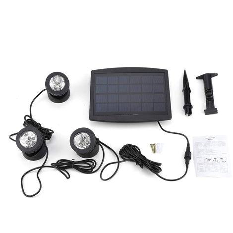 Projecteurs Solaires Pour Etang, Avec 3 Lampes, Lumiere Coloree Rvb