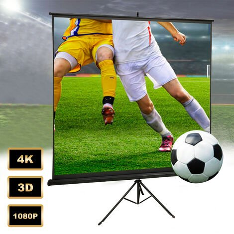 Projector Screen, Projection Screen, 190 x 190 cm (74.8 x 74.8 inch), with Black Tripod, Material: Nylon fabric, Steel
