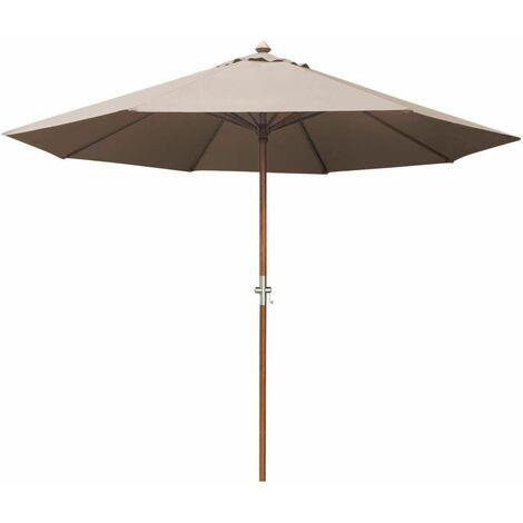 PROLOISIRS Parasol bois rond 350 Manivelle gris