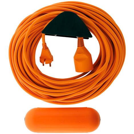 Prolongateur Jardin 2x 1,5mm² Orange 25m + 1 boitier étanche Orange + support mural - Zenitech