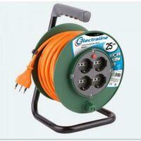 Prolunga elettrica 25 mt con avvolgicavo 4 schuko + 10/16a 49018