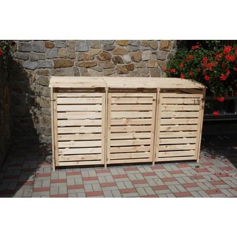 """Mülltonnenbox """"Vario III"""" für 3 Tonnen natur"""