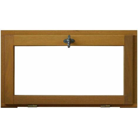 PROMO - CHASSIS ABATTANT EN BOIS EXOTIQUE HAUTEUR 45 X LARGEUR 60 (cotes tableau)PRET A ETRE PEINT OU TEINTER