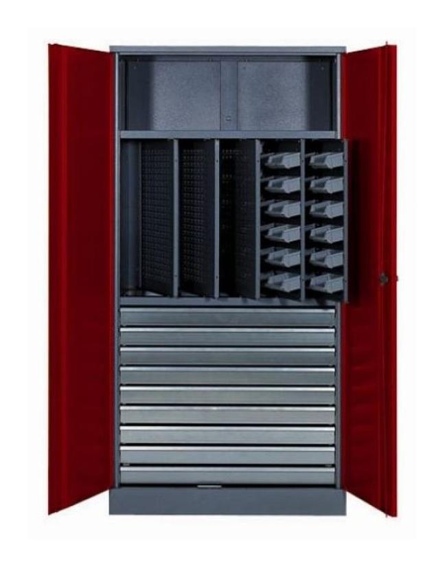 Déstockage Kupper – Armoire 2 portes 1 étagère 10 tiroirs et 36 boites de rangement - Rouge