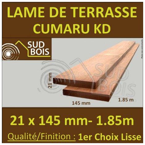 PROMO Lame de Terrasse Cumaru KD 1er Choix 21x145 Lisse 2 Faces 0.95m