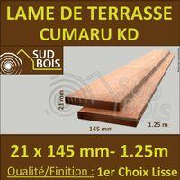 PROMO Lame de Terrasse Cumaru KD 1er Choix 21x145 Lisse 2 Faces 1.25m
