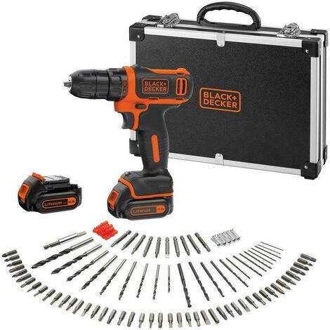 Promotion - Black and Decker - Perceuse visseuse 10.8 V 1.5 Ah 26 Nm avec 2 batteries et 100 accessoires - BDCDD12BAFC-QW
