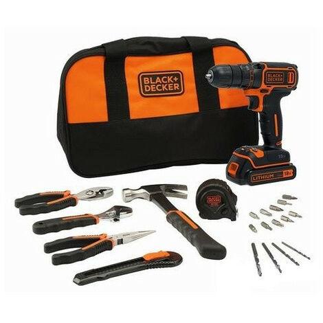 Promotion - Black and Decker - Perceuse visseuse 18V 1,5Ah Li-Ion avec accessoires et outils à main - BDCDC18HTSA