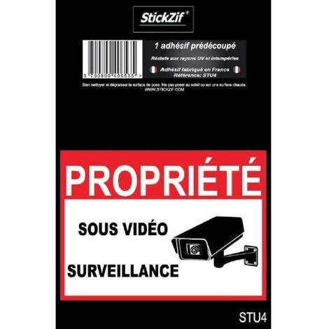 PROPRIETE SOUS VIDEO SURVEILLANCE Adhesif pre-decoupe - Dimension 9 x 6.5 cm - Resistant Stickzif