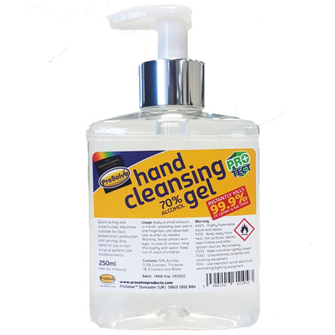 Prosolve Hand Cleansing Gel Sanitiser Clean Protection 250ml Pump Bottle