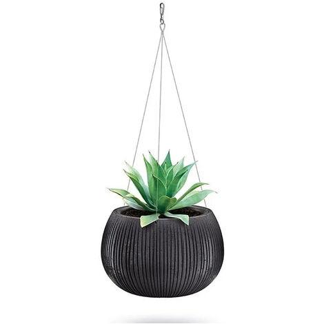 Prosperplast Beton Bowl WS Pot de fleurs en plastique 2 en 1 avec pot rond en couleur ciment noir 19,5 (Hauteur) x 29 (Profondeur) x 29 (largeur) cm