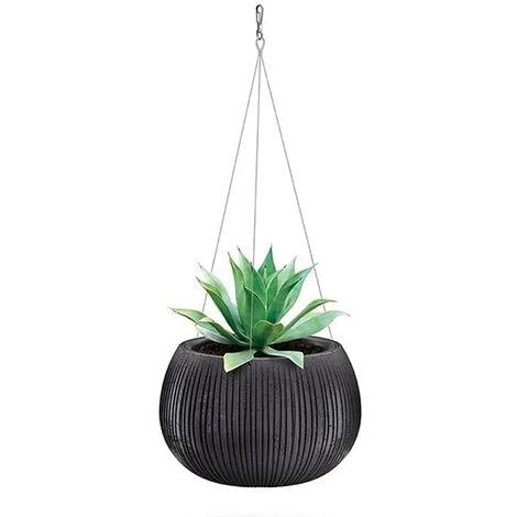 Prosperplast Beton Bowl WS Pot de fleurs en plastique 2 en 1 avec pot rond en couleur ciment noir 21,8 (Hauteur) x 37 (Profondeur) x 37 (largeur) cm