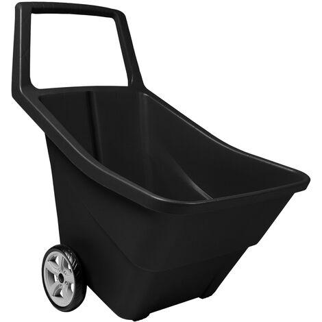 PROSPERPLAST Chariot de jardin sur roues capacité 95L noir 79,9 x 59,3 x 72,4 cm