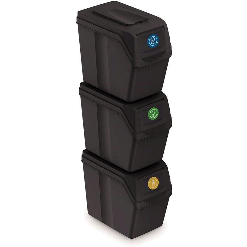 Prosperplast Juego de 3 cubos de reciclaje con capacidad de 60 litros de compartimentos en color antracita 39x23x33 cm