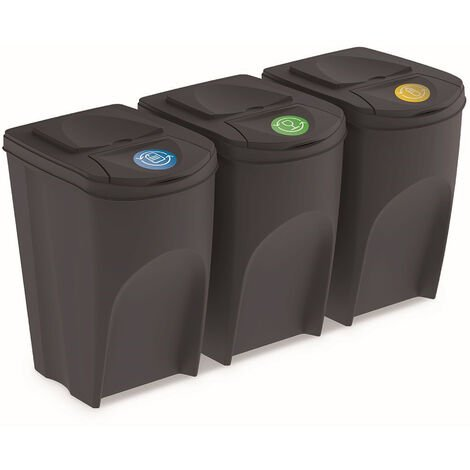 Prosperplast Lot de 3 cubes de recyclage 105 l Sortibox en plastique anthracite 3 x 35 l