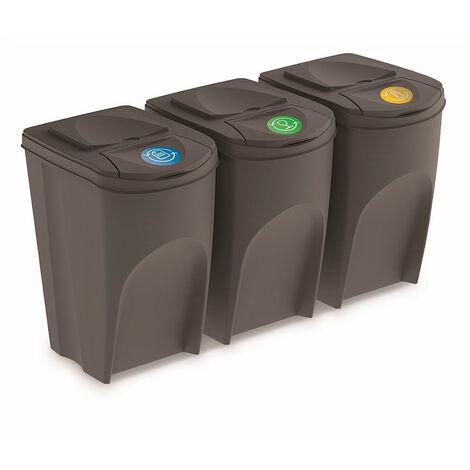 Prosperplast Lot de 3 cubes de recyclage 105 l Sortibox en plastique gris 3 x 35 l